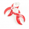 Pendant Cancer Curved Ribbon 23mm Red